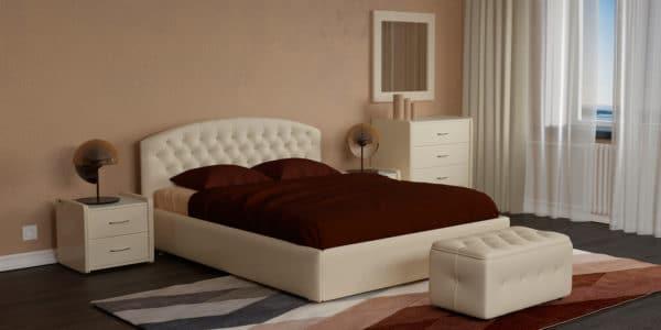 Мягкая кровать Малибу 160см экокожа бежевого цвета вариант 1-2 фото | интернет-магазин Складно