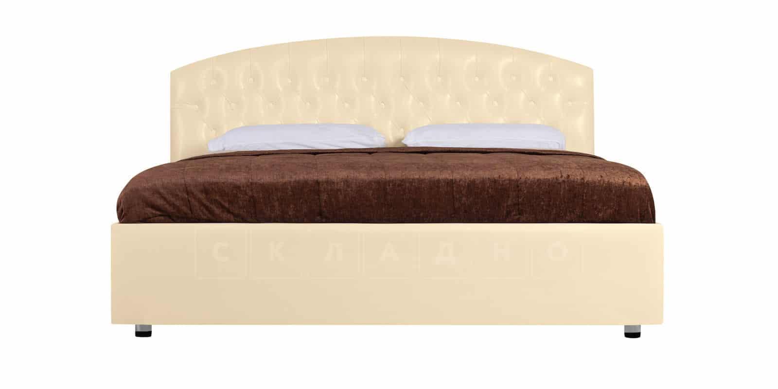 Мягкая кровать Малибу 160см экокожа бежевого цвета вариант 1-2 фото 3 | интернет-магазин Складно