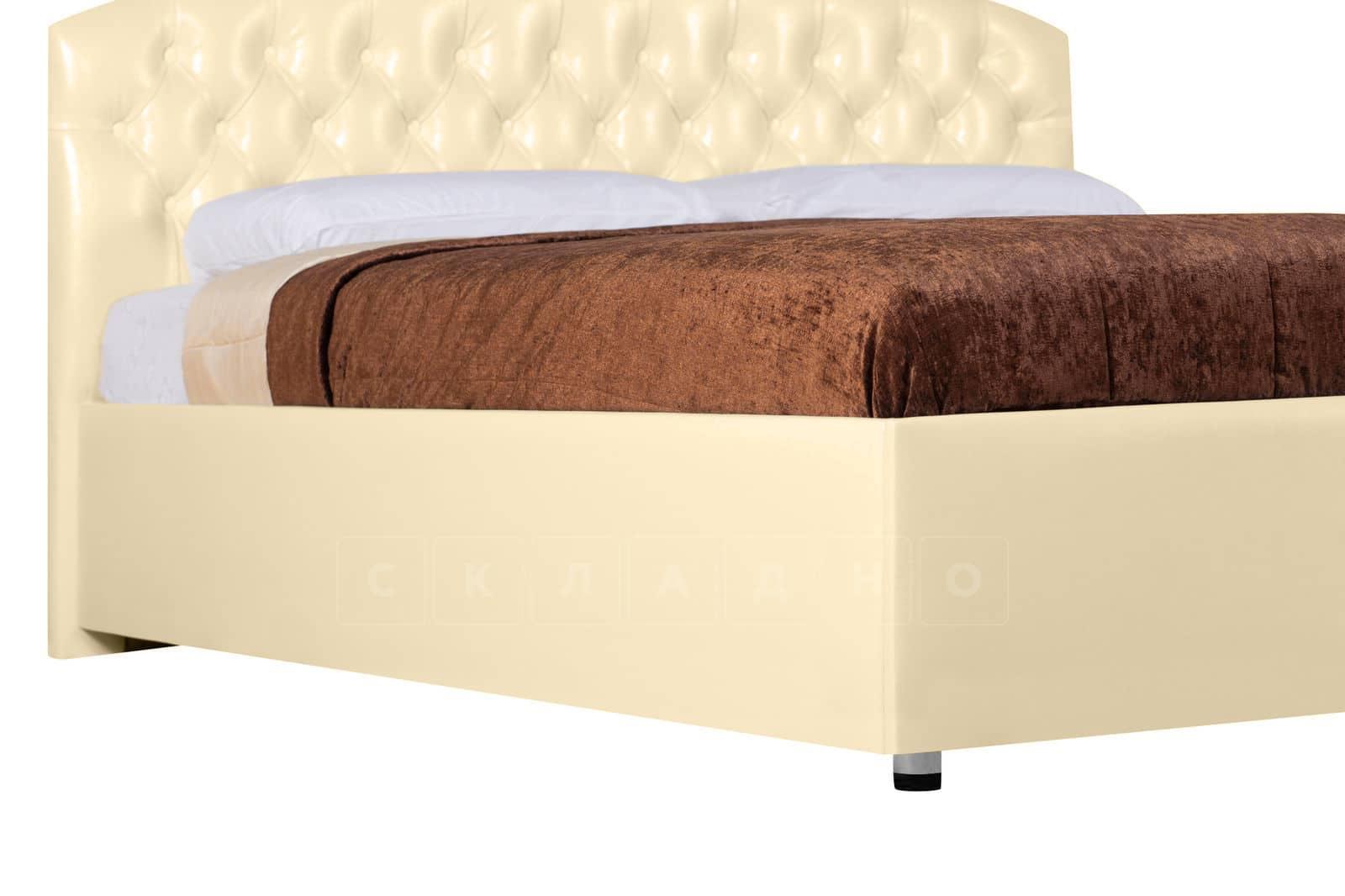 Мягкая кровать Малибу 160см экокожа бежевого цвета вариант 1-2 фото 6 | интернет-магазин Складно
