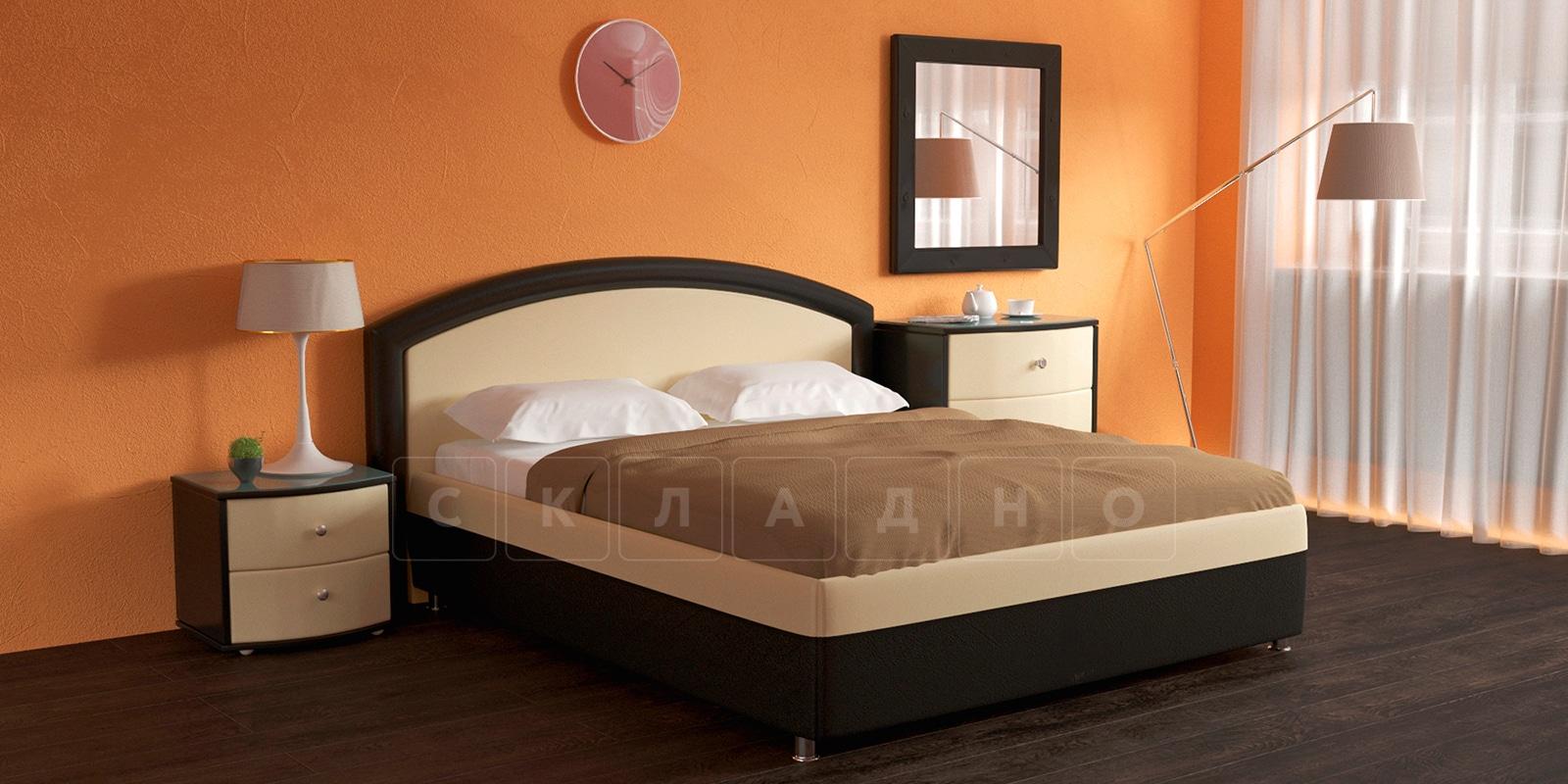 Мягкая кровать Малибу 160см экокожа бежевый-шоколад вариант 8-2 фото 2 | интернет-магазин Складно