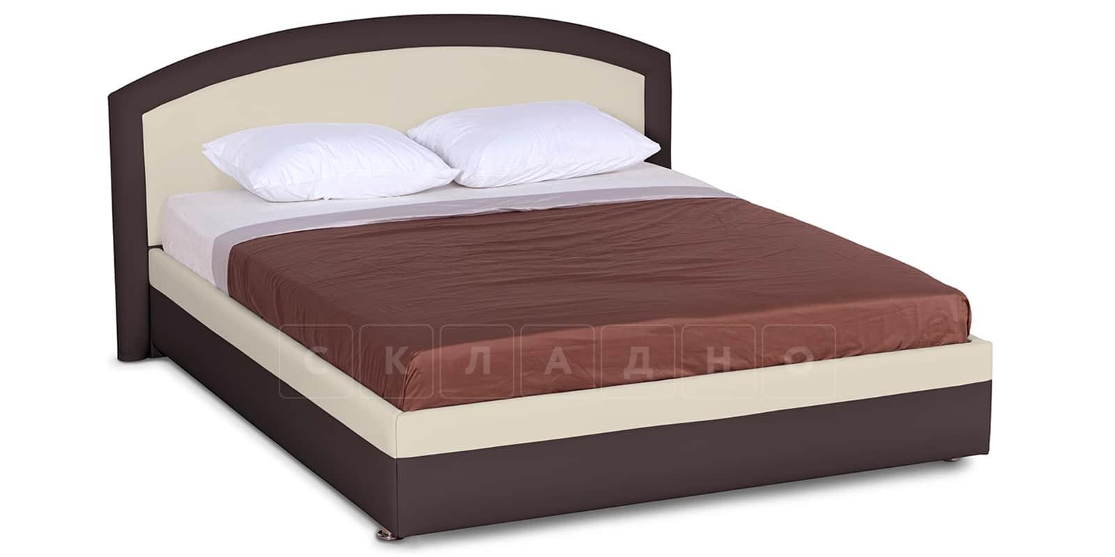 Мягкая кровать Малибу 160см экокожа бежевый-шоколад вариант 8-2 фото 1 | интернет-магазин Складно