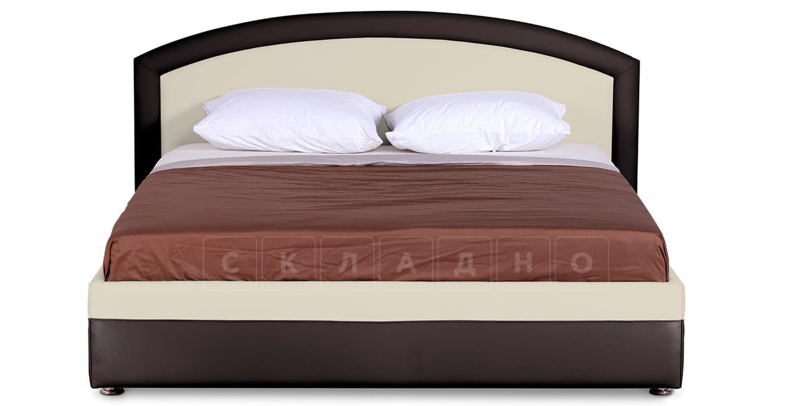 Мягкая кровать Малибу 160см экокожа бежевый-шоколад вариант 8-2 фото 3 | интернет-магазин Складно