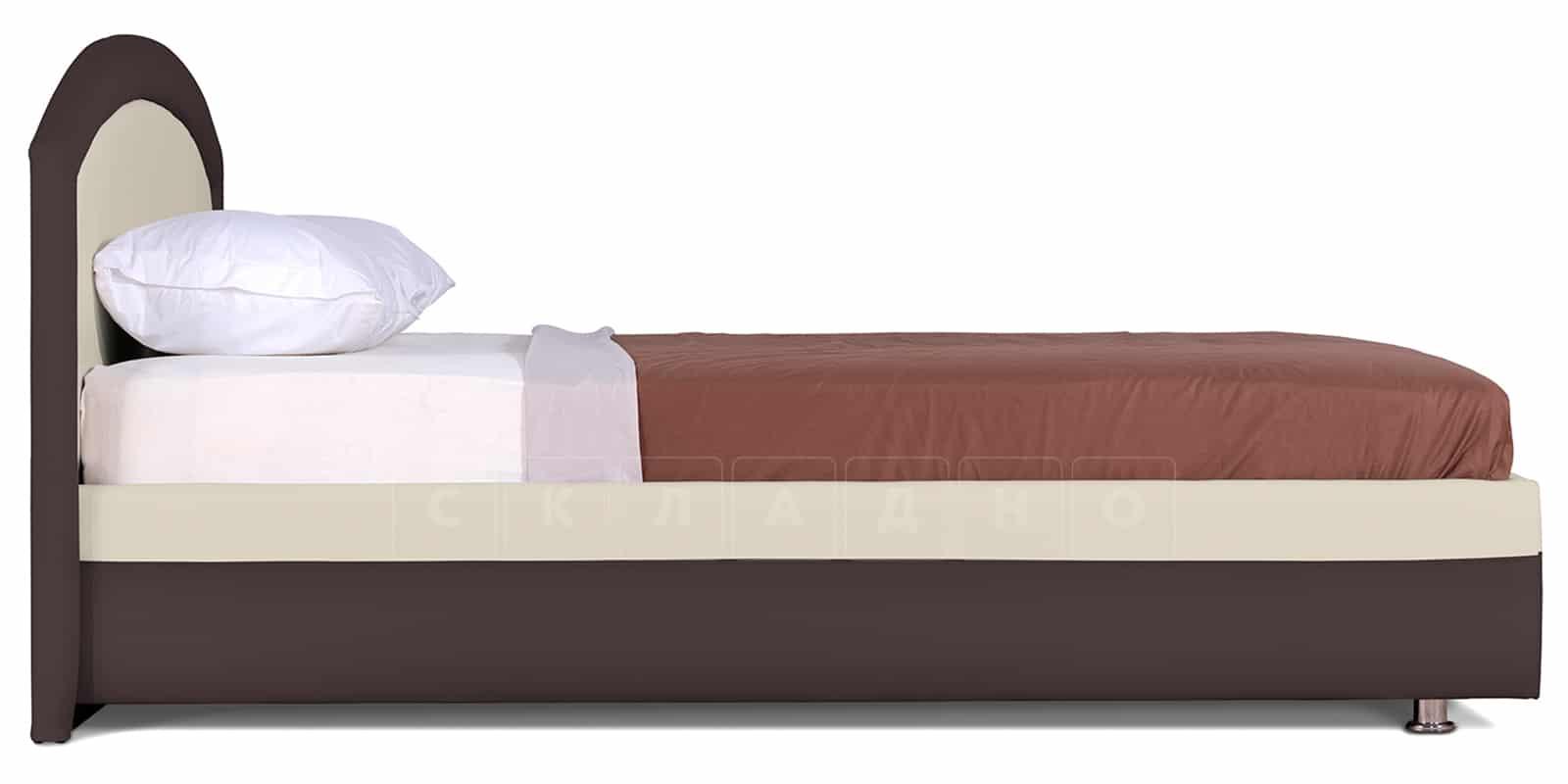 Мягкая кровать Малибу 160см экокожа бежевый-шоколад вариант 8-2 фото 4   интернет-магазин Складно