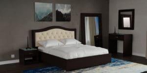Мягкая кровать Малибу 160см экокожа бежевый-шоколад вариант 9-2 21990 рублей, фото 7 | интернет-магазин Складно