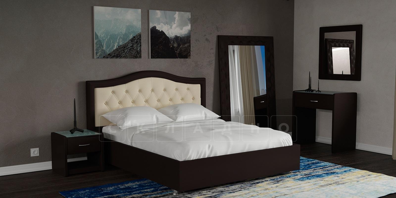 Мягкая кровать Малибу 160см экокожа бежевый-шоколад вариант 9-2 фото 7 | интернет-магазин Складно