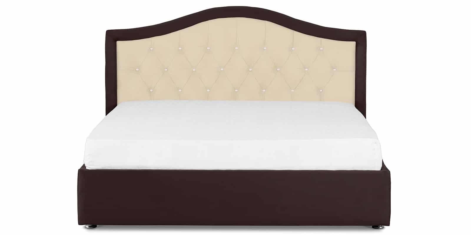 Мягкая кровать Малибу 160см экокожа бежевый-шоколад вариант 9-2 фото 2 | интернет-магазин Складно