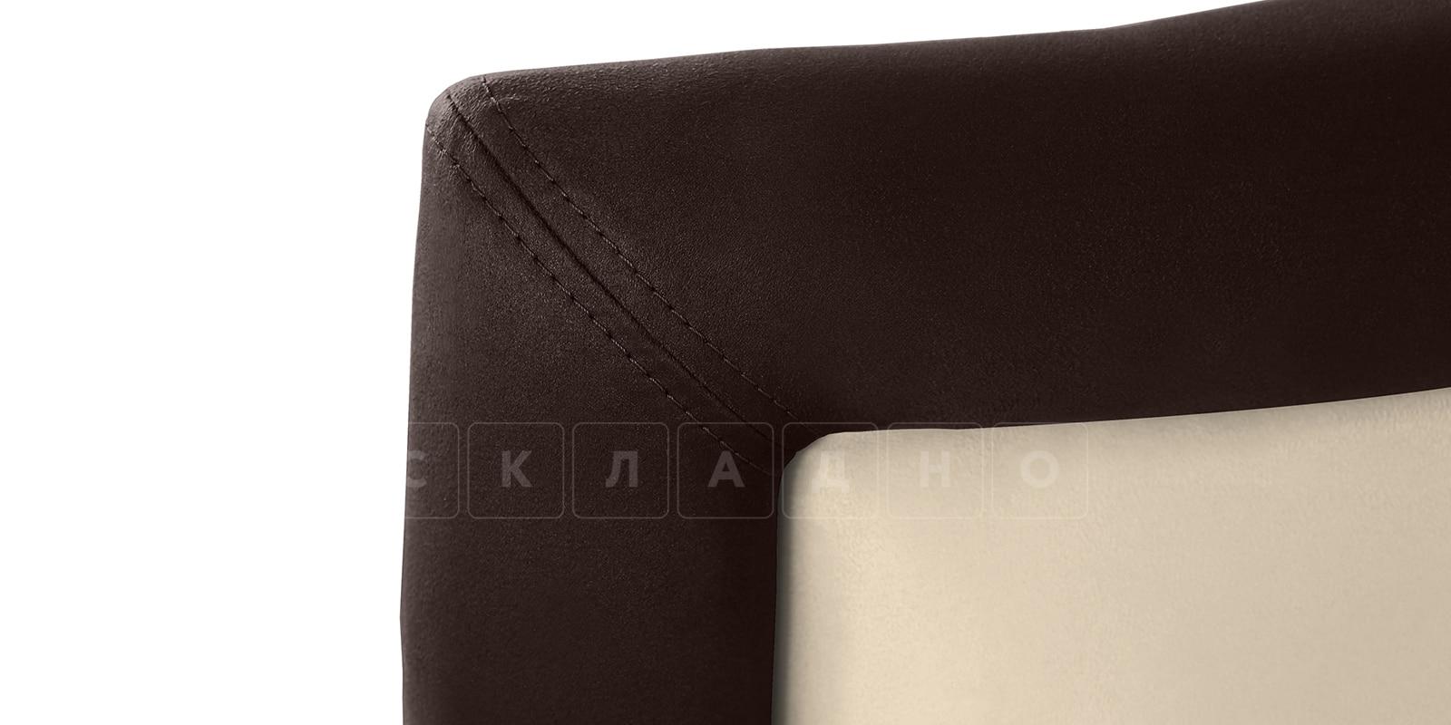 Мягкая кровать Малибу 160см экокожа бежевый-шоколад вариант 9-2 фото 4 | интернет-магазин Складно