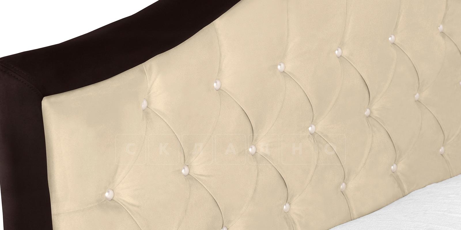 Мягкая кровать Малибу 160см экокожа бежевый-шоколад вариант 9-2 фото 5 | интернет-магазин Складно