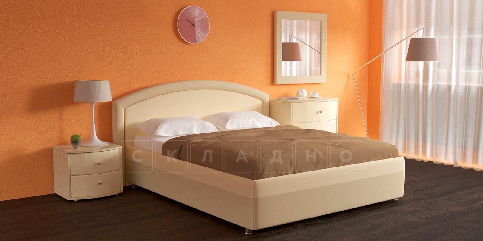 Мягкая кровать Малибу 160см экокожа бежевый вариант 8-2 фото 2 | интернет-магазин Складно