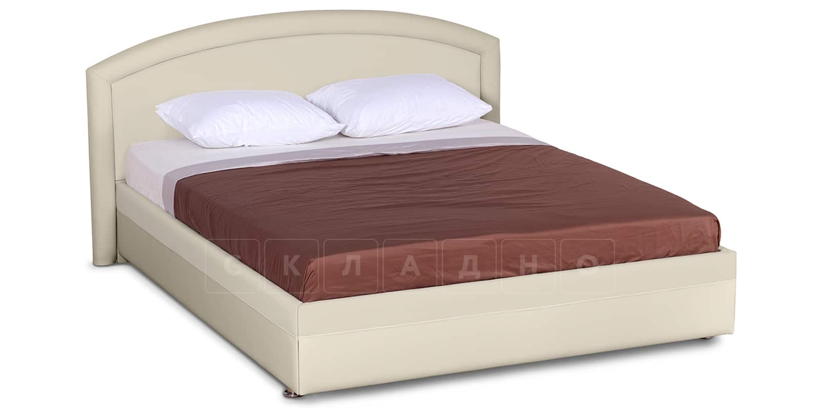 Мягкая кровать Малибу 160см экокожа бежевый вариант 8-2 фото 1 | интернет-магазин Складно