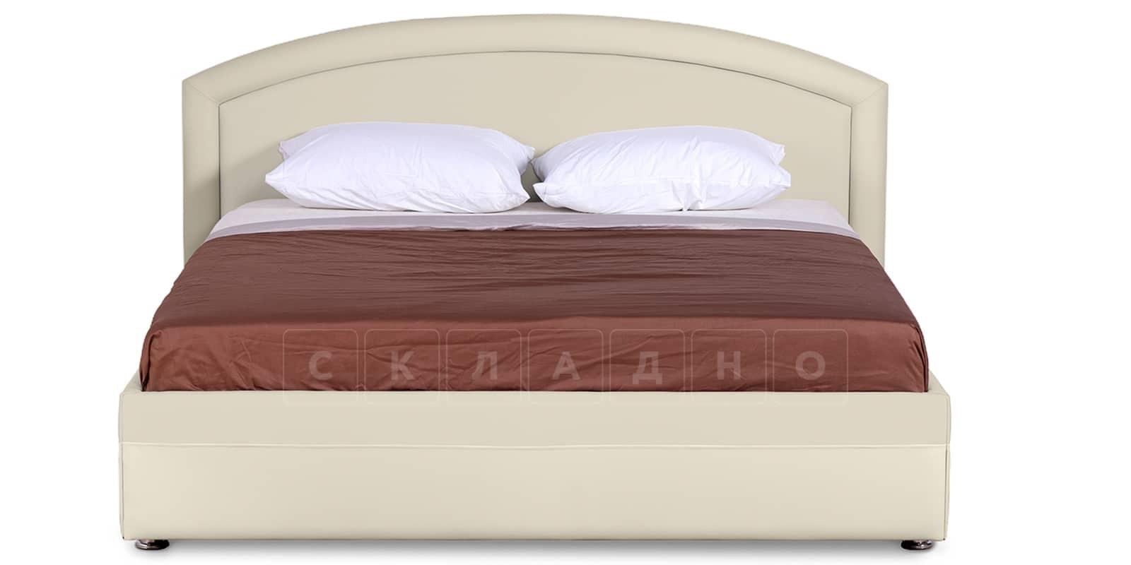 Мягкая кровать Малибу 160см экокожа бежевый вариант 8-2 фото 3 | интернет-магазин Складно