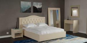 Мягкая кровать Малибу 160см экокожа бежевый вариант 9-2 25990 рублей, фото 6 | интернет-магазин Складно