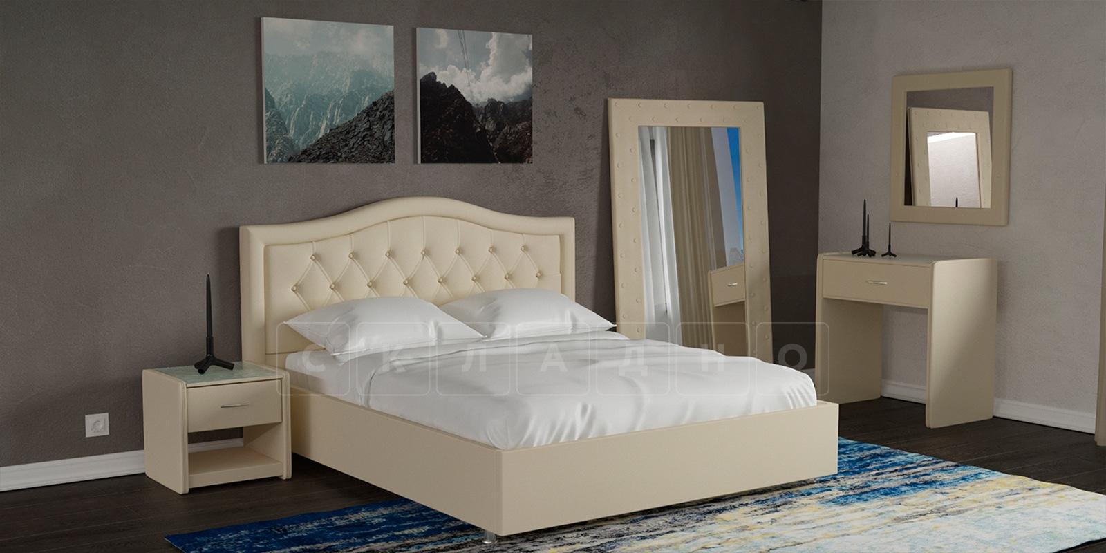 Мягкая кровать Малибу 160см экокожа бежевый вариант 9-2 фото 6 | интернет-магазин Складно