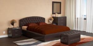 Мягкая кровать Малибу 160см экокожа шоколадного цвета вариант 1-2 фото превью | интернет-магазин Складно