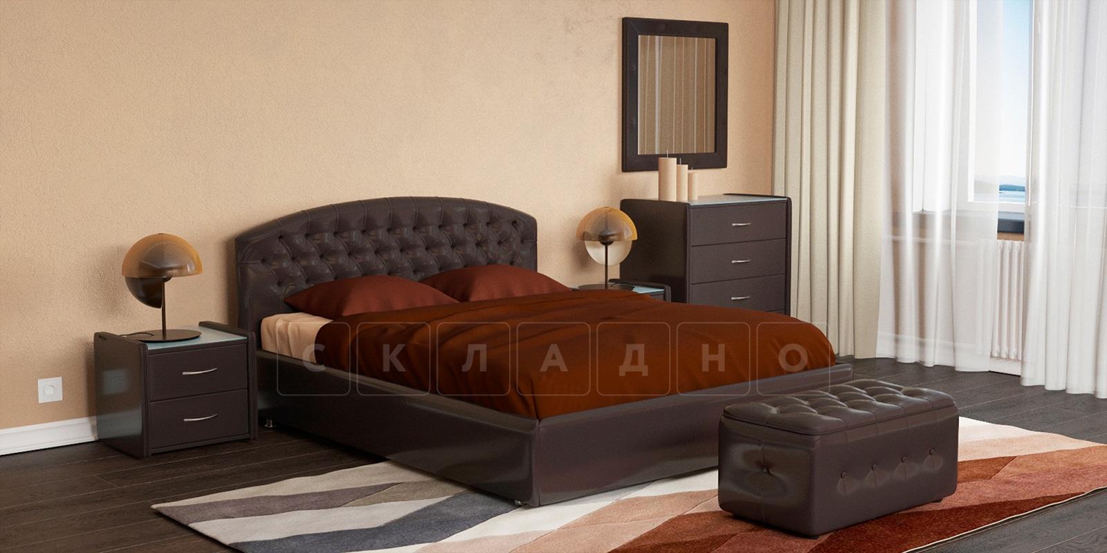 Мягкая кровать Малибу 160см экокожа шоколадного цвета вариант 1-2 фото 1 | интернет-магазин Складно