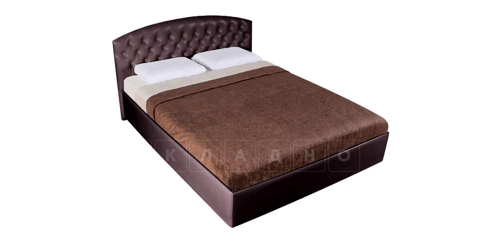 Мягкая кровать Малибу 160см экокожа шоколадного цвета вариант 1-2 фото 5 | интернет-магазин Складно