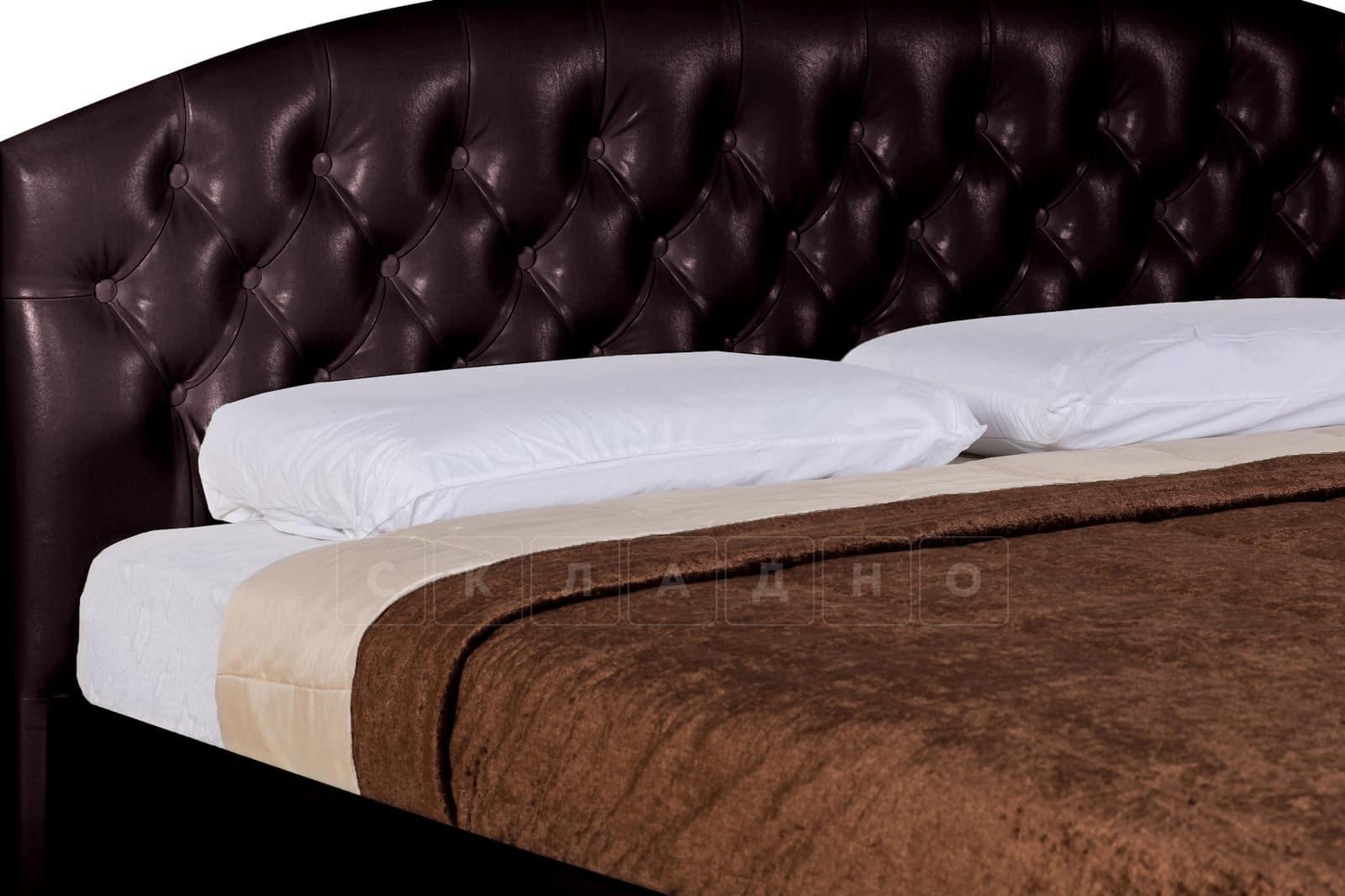 Мягкая кровать Малибу 160см экокожа шоколадного цвета вариант 1-2 фото 7 | интернет-магазин Складно