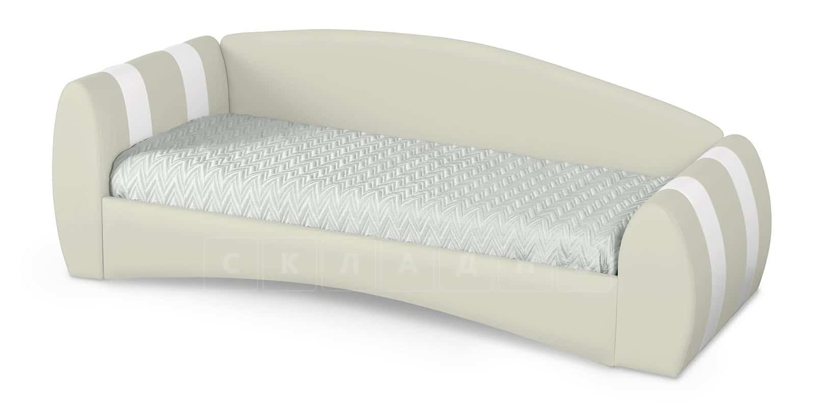 Мягкая кровать Монако 90х190см молочного цвета левая фото 2 | интернет-магазин Складно