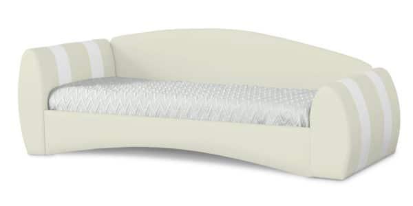 Мягкая кровать Монако 90х190см молочного цвета левая фото | интернет-магазин Складно