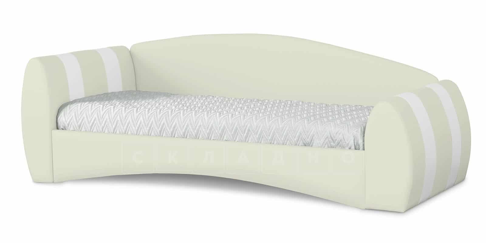 Мягкая кровать Монако 90х190см молочного цвета левая фото 1 | интернет-магазин Складно