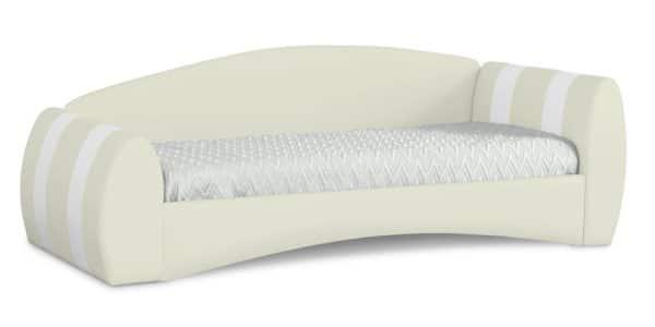 Мягкая кровать Монако 90х190см молочного цвета правая фото | интернет-магазин Складно