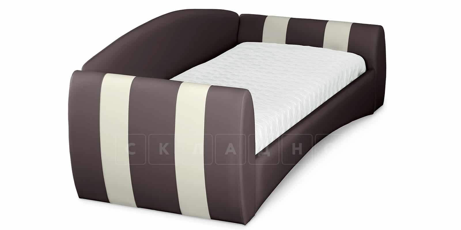 Мягкая кровать Монако 90х190см шоколадного цвета левая фото 4   интернет-магазин Складно