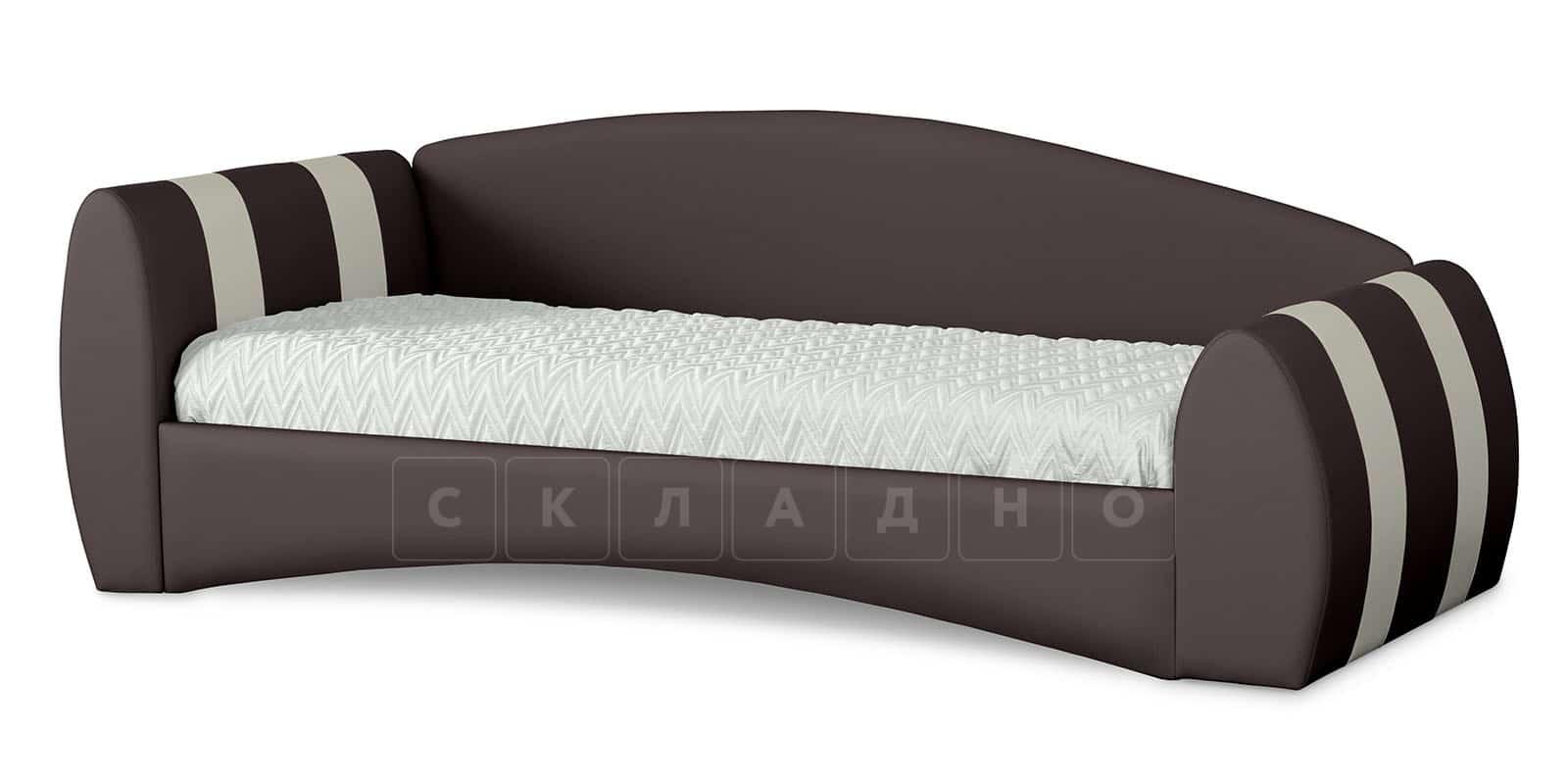 Мягкая кровать Монако 90х190см шоколадного цвета левая фото 1   интернет-магазин Складно