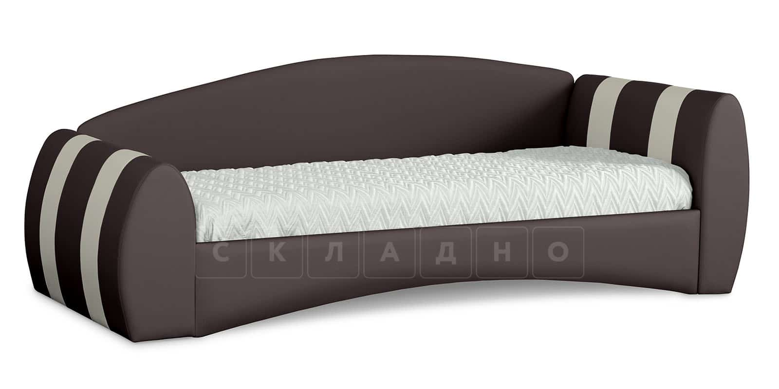 Мягкая кровать Монако 90х190см шоколадного цвета правая фото 1 | интернет-магазин Складно