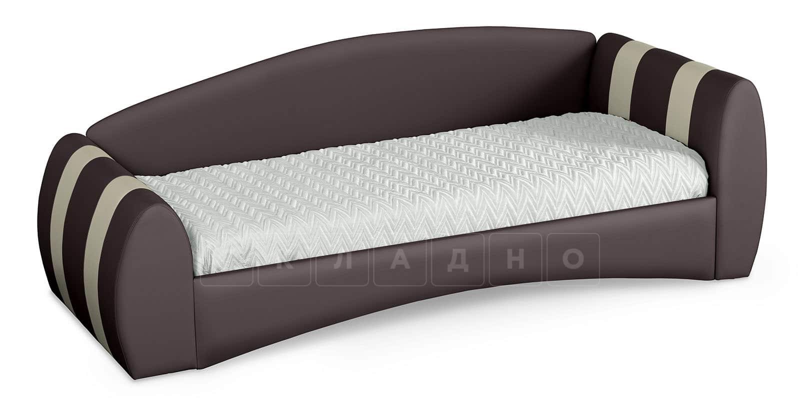 Мягкая кровать Монако 90х190см шоколадного цвета правая фото 2 | интернет-магазин Складно