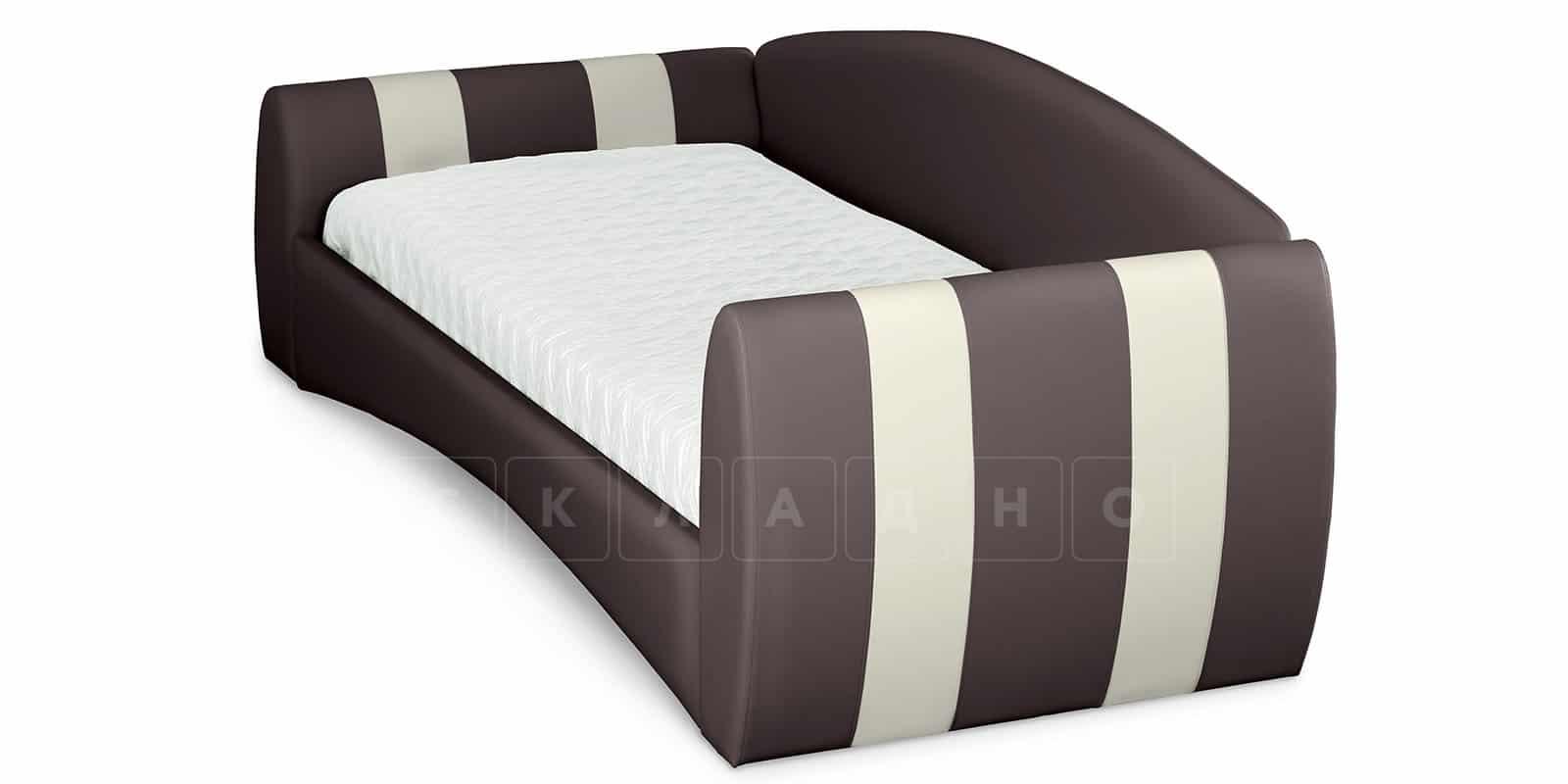 Мягкая кровать Монако 90х190см шоколадного цвета правая фото 4 | интернет-магазин Складно