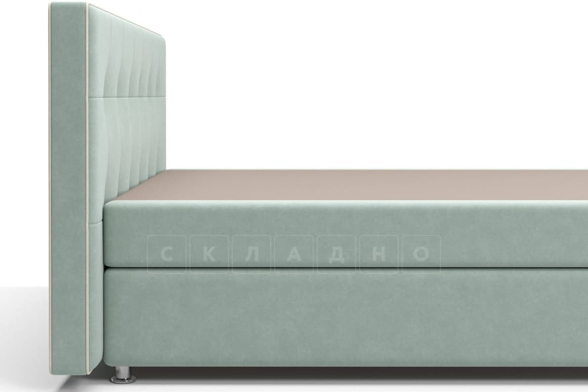 Кровать Николетт серо-голубого цвета единый матрас блок Боннель фото 4 | интернет-магазин Складно