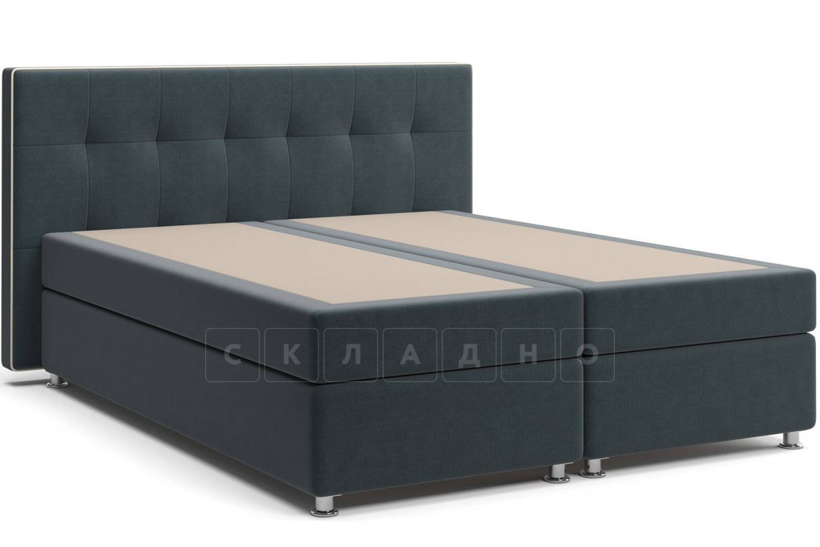 Кровать Николетт темно-серого цвета два раздельных матраса пружинный блок Боннель фото 1 | интернет-магазин Складно