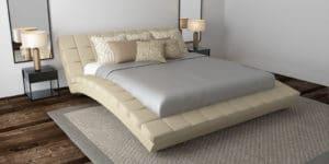 Мягкая кровать Оливия 160см экокожа бежевого цвета фото | интернет-магазин Складно