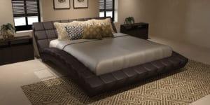 Мягкая кровать Оливия 160см экокожа коричневого цвета фото | интернет-магазин Складно