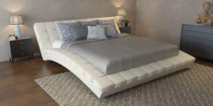 Мягкая кровать Оливия 160см экокожа молочного цвета фото | интернет-магазин Складно
