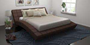 Мягкая кровать Оливия 160см рогожка коричневого цвета фото | интернет-магазин Складно