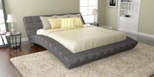 Мягкая кровать Оливия 160см рогожка серого цвета фото | интернет-магазин Складно