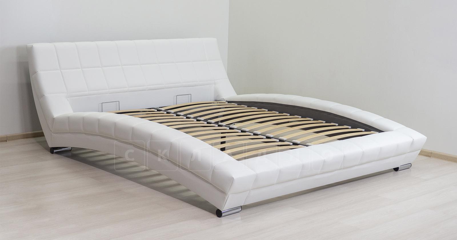 Мягкая кровать Оливия 160 см экокожа белый фото 5 | интернет-магазин Складно