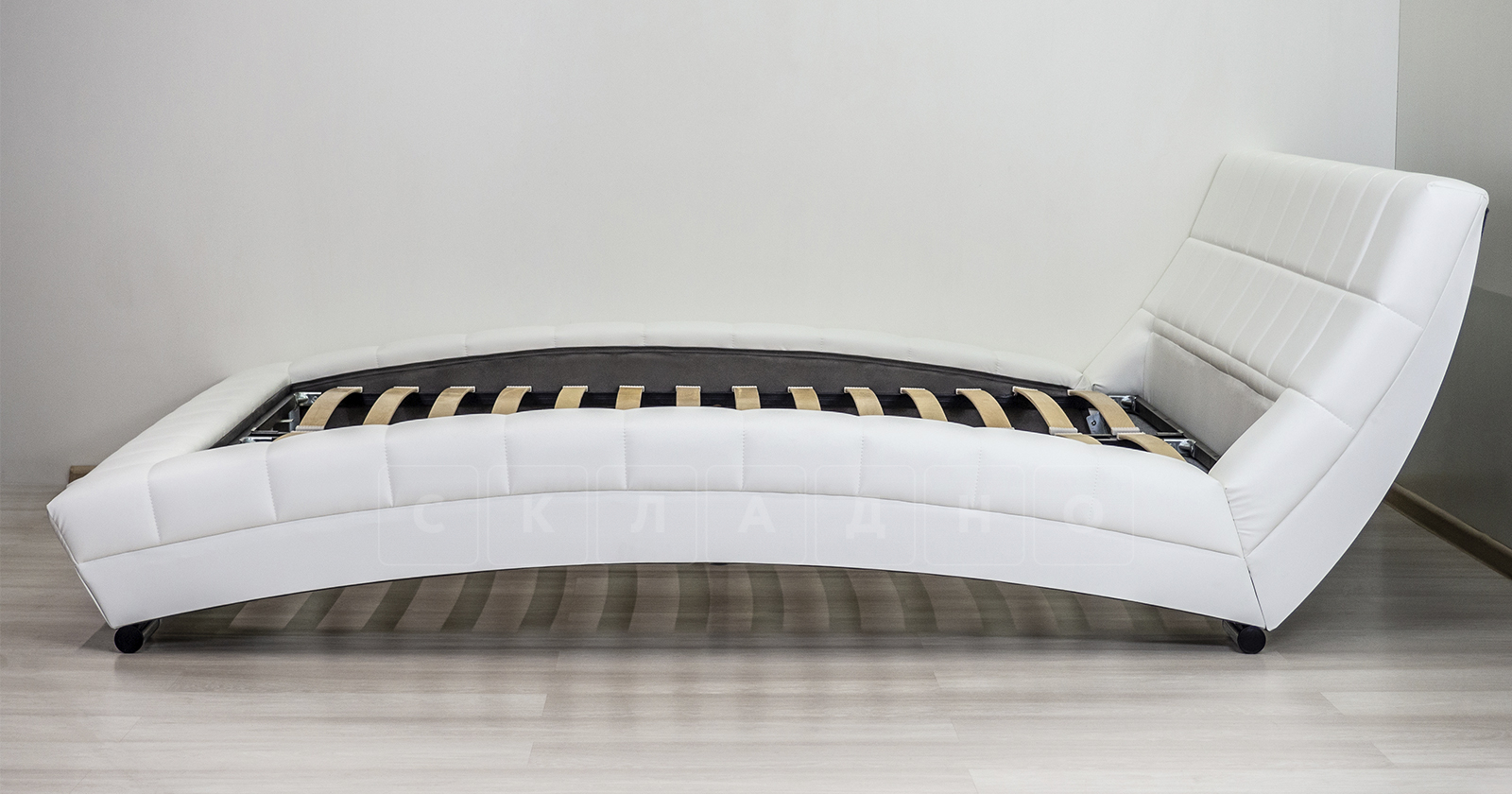 Мягкая кровать Оливия 160 см экокожа белый фото 6 | интернет-магазин Складно