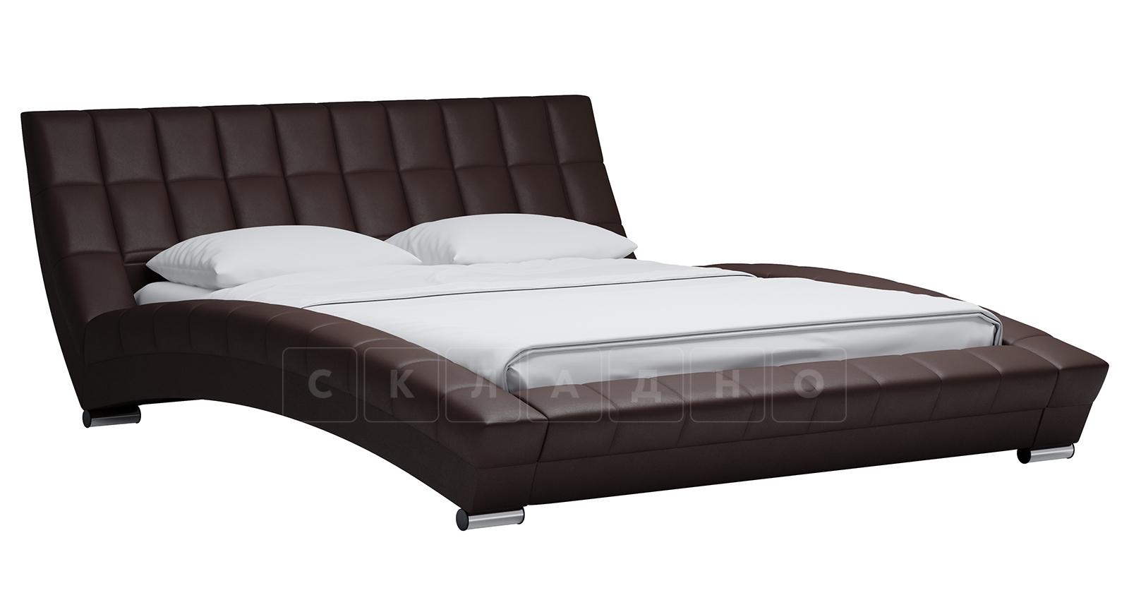Мягкая кровать Оливия 160 см экокожа шоколад фото 1 | интернет-магазин Складно
