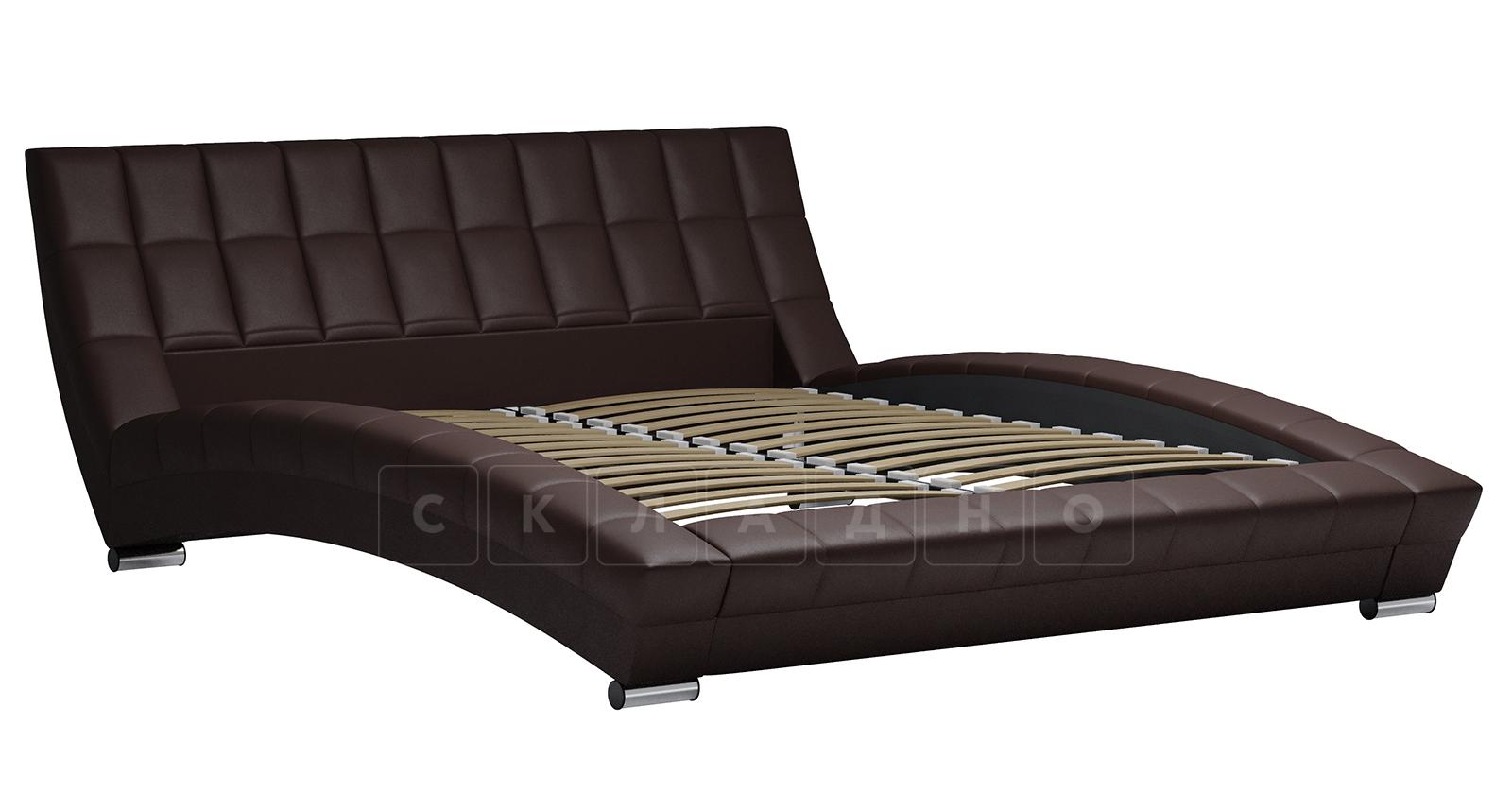 Мягкая кровать Оливия 160 см экокожа шоколад фото 2 | интернет-магазин Складно