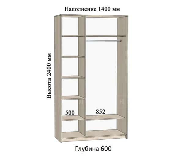 Шкаф-купе Комфорт ширина 140см, модель 1400 фото 1 | интернет-магазин Складно