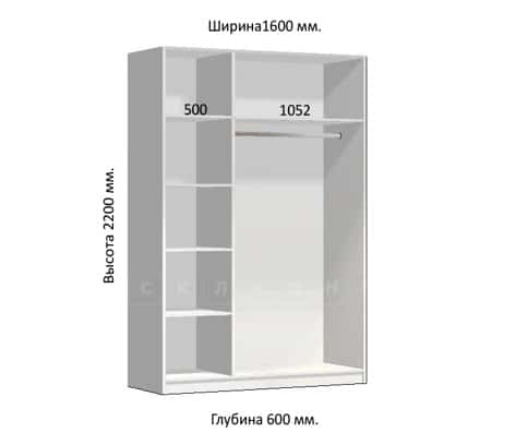 Шкаф-купе Комфорт ширина 160см, модель 1604 фото 1 | интернет-магазин Складно