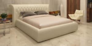 Мягкая кровать Вирджиния 160см экокожа молочного цвета-8298 фото | интернет-магазин Складно