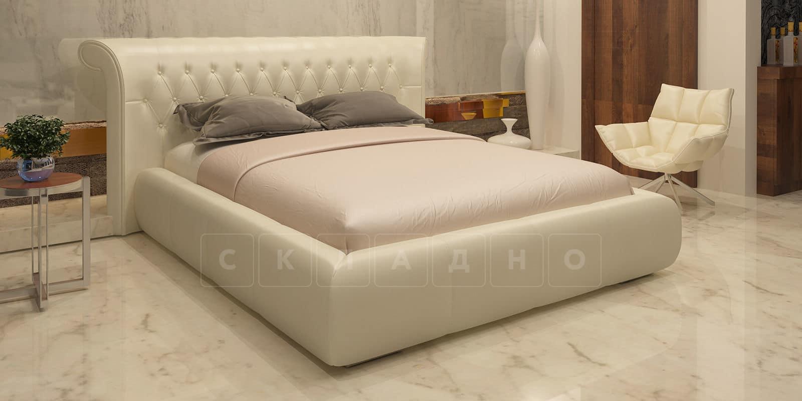 Мягкая кровать Вирджиния 160см экокожа молочного цвета фото 1 | интернет-магазин Складно