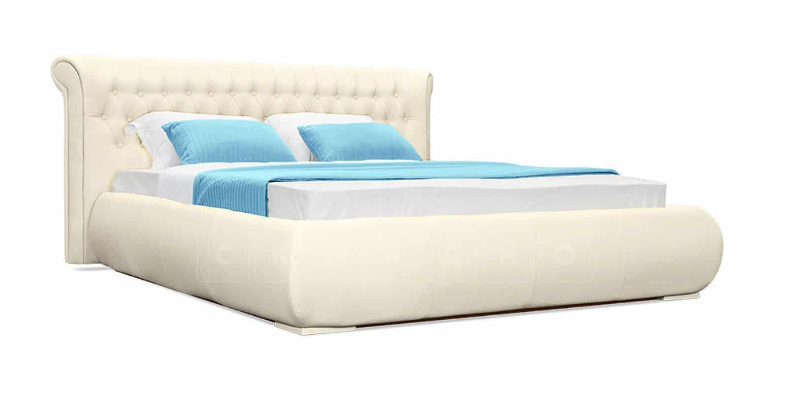Мягкая кровать Вирджиния 160см экокожа молочного цвета фото 2 | интернет-магазин Складно