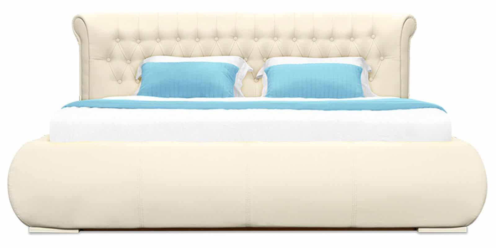 Мягкая кровать Вирджиния 160см экокожа молочного цвета фото 3 | интернет-магазин Складно