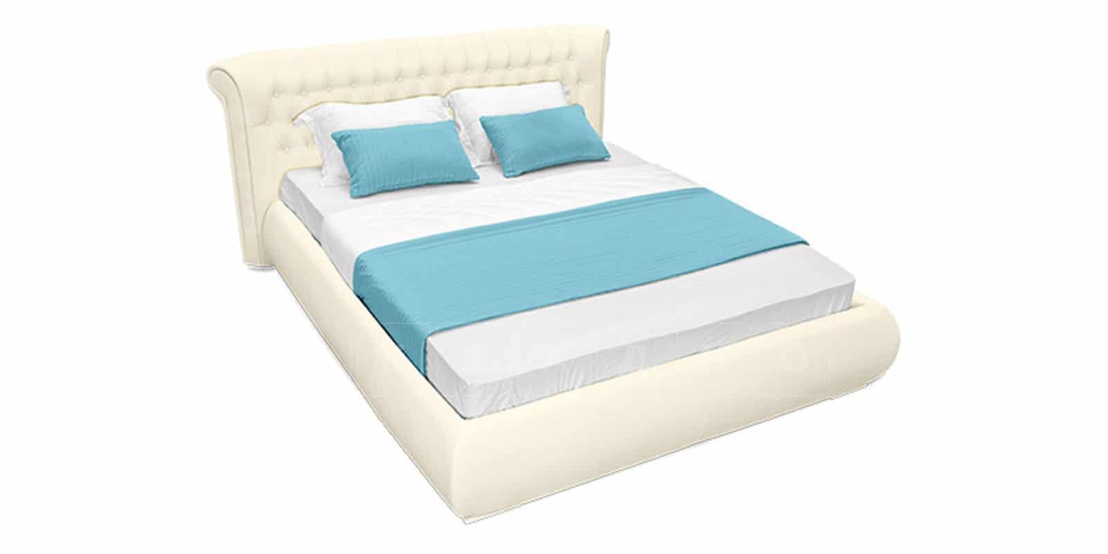 Мягкая кровать Вирджиния 160см экокожа молочного цвета фото 5 | интернет-магазин Складно