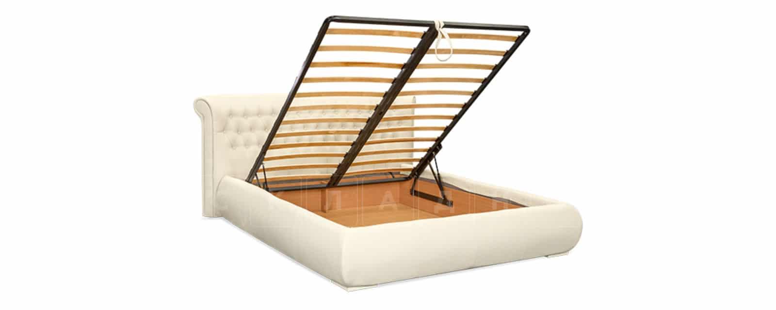 Мягкая кровать Вирджиния 160см экокожа молочного цвета фото 6 | интернет-магазин Складно
