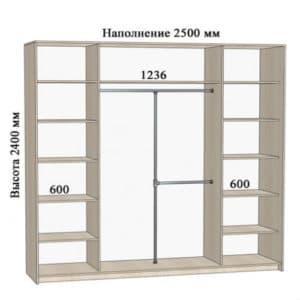 Шкаф-купе Комфорт ширина 250см, модель 2500  41700  рублей, фото 1 | интернет-магазин Складно